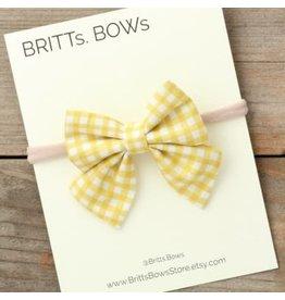 Britt's Bows Stretch Headband - Mustard Gingham