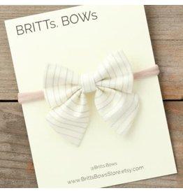 Britt's Bows Stretch Headband - White Pinstripe