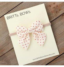 Britt's Bows Stretch Headband - Red Polka Dot