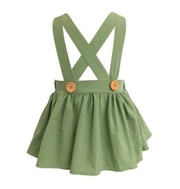 Daphne Pleated Suspender Skirt, Olive