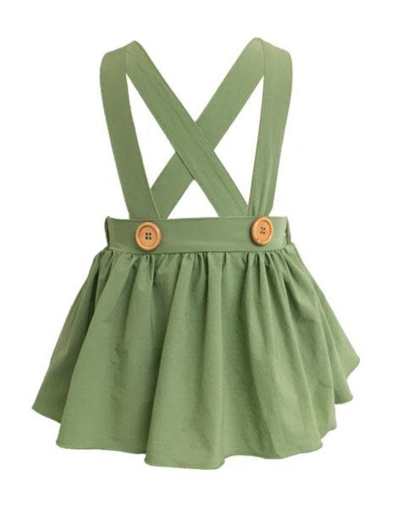 Daphne Pleated Suspender Skirt, Olive