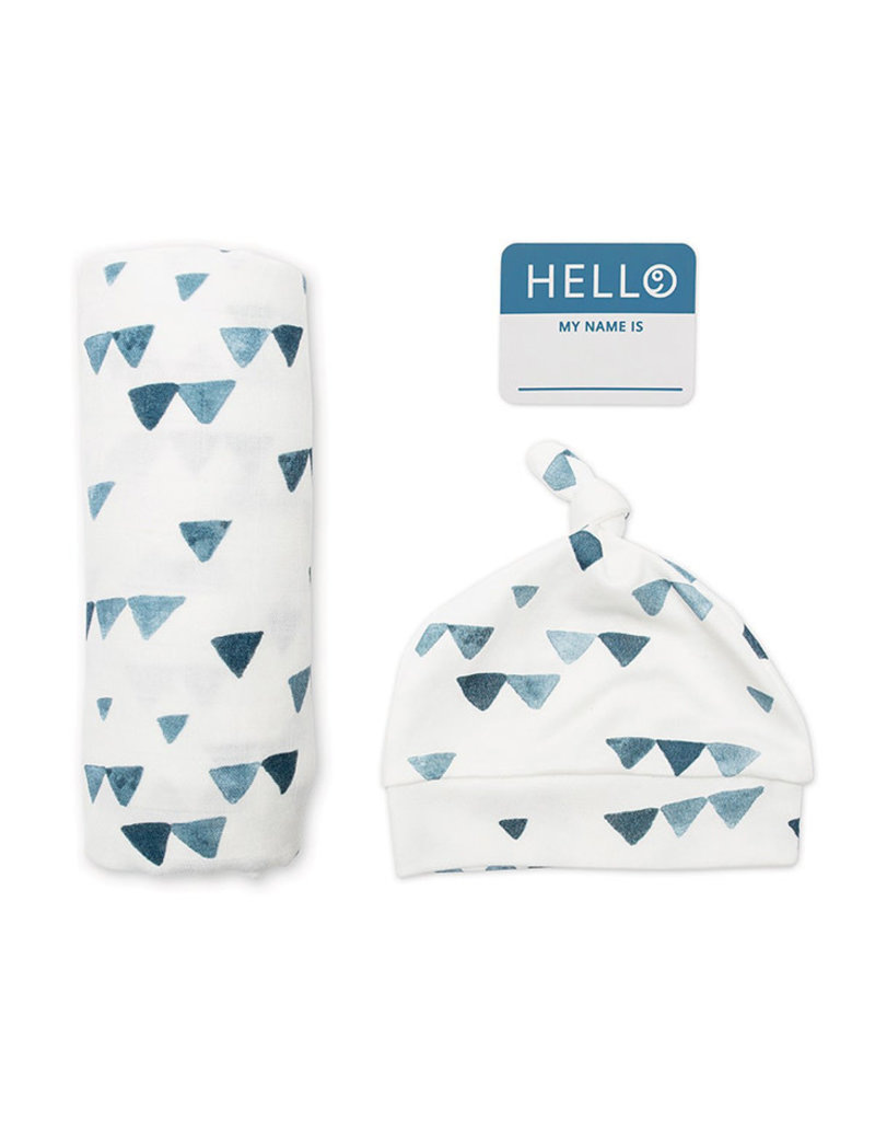 Lulujo Hat & Swaddle Set, Triangle Blue