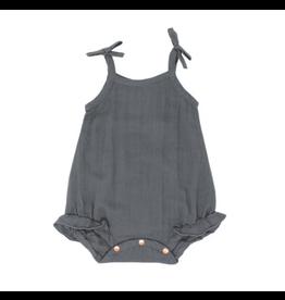 Organic Muslin Ruffle Bodysuit, Grey