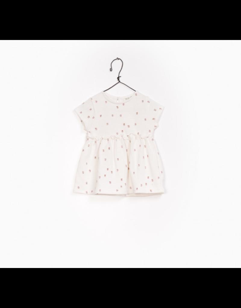 Girls Printed Jersey Dress, Creme