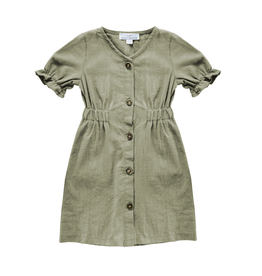 Colette Button Dress, Olive