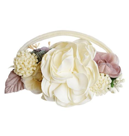 Floral Stretch Headband, Ivory & Mauve