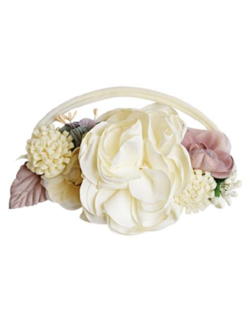 Floral Stretch Headband, Ivory & Mauve