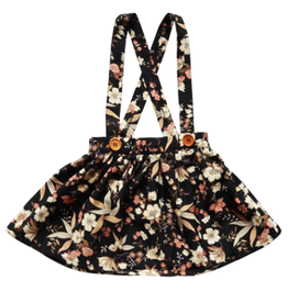 Daphne Pleated Suspender Skirt, Black Floral