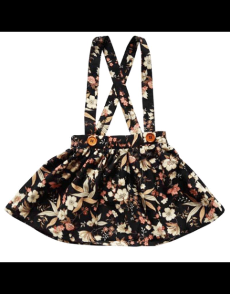 Daphne Pleated Suspender Skirt, Black Floral