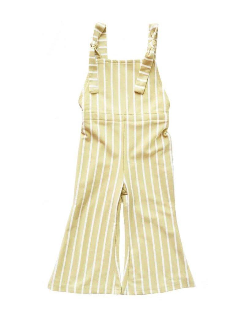 Suspender Bell Bottom Jumpsuit, Custard