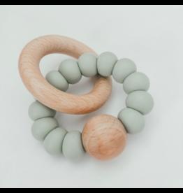 Levi Silicone + Wood Rattle, Smokey Mint