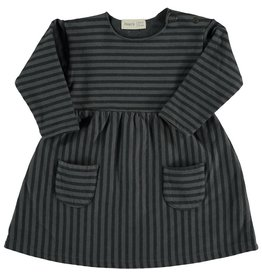 Organic Cotton Striped Sweat Dress, Anthracite