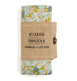 Milkbarn Kids Bamboo Swaddle, Blue Floral