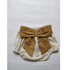 Yo Baby Ivory Diaper Cover with Bow, Mustard