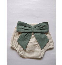 Yo Baby Ivory Diaper Cover with Bow, Sage