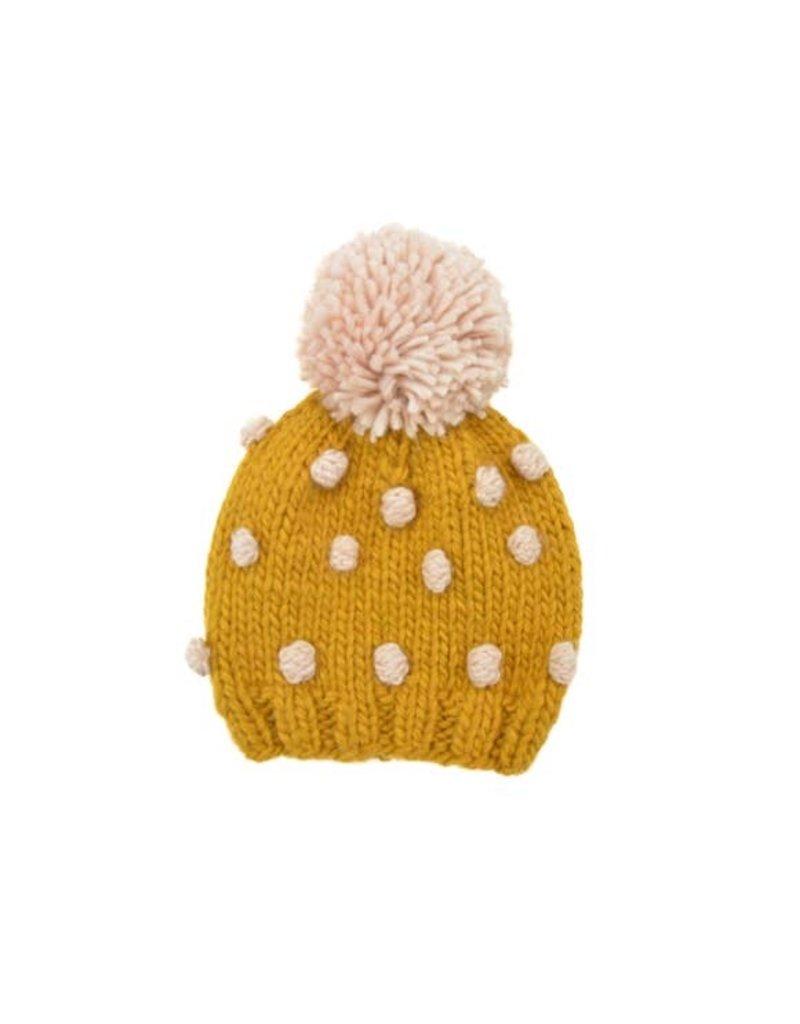 Hand Knit Popcorn Beanie, Mustard + Pink