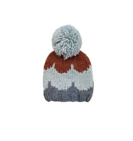 Hand Knit Scallop Beanie, Gray 2-8y
