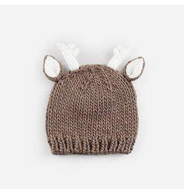 Hand Knit Deer Beanie, Tan NB 0-3m