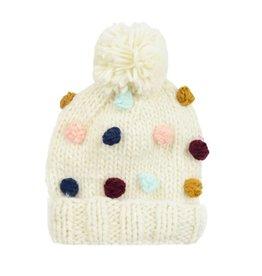 Hand Knit Popcorn Beanie, Cream + Multi S 12-24m