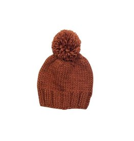 Hand Knit Pom Beanie, Cinnamon NB 0-3m