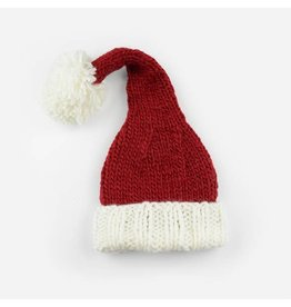 Hand Knit Santa Hat, NB 0-3m