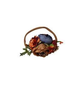 Floral Stretch Headband - Tan, Navy, Orange