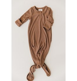 Mebie Baby Ribbed Knot Gown, Cocoa 0-3m