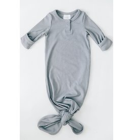 Mebie Baby Ribbed Knot Gown, Grey 0-3m