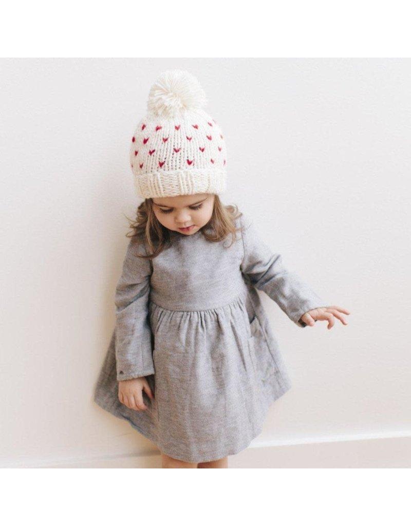 Blueberry Hill Sawyer Tiny Hearts Beanie, Cream XS 3-12m