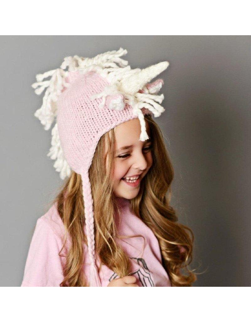 Blueberry Hill Ella Unicorn Knit Hat, Pink/White 2-8yrs