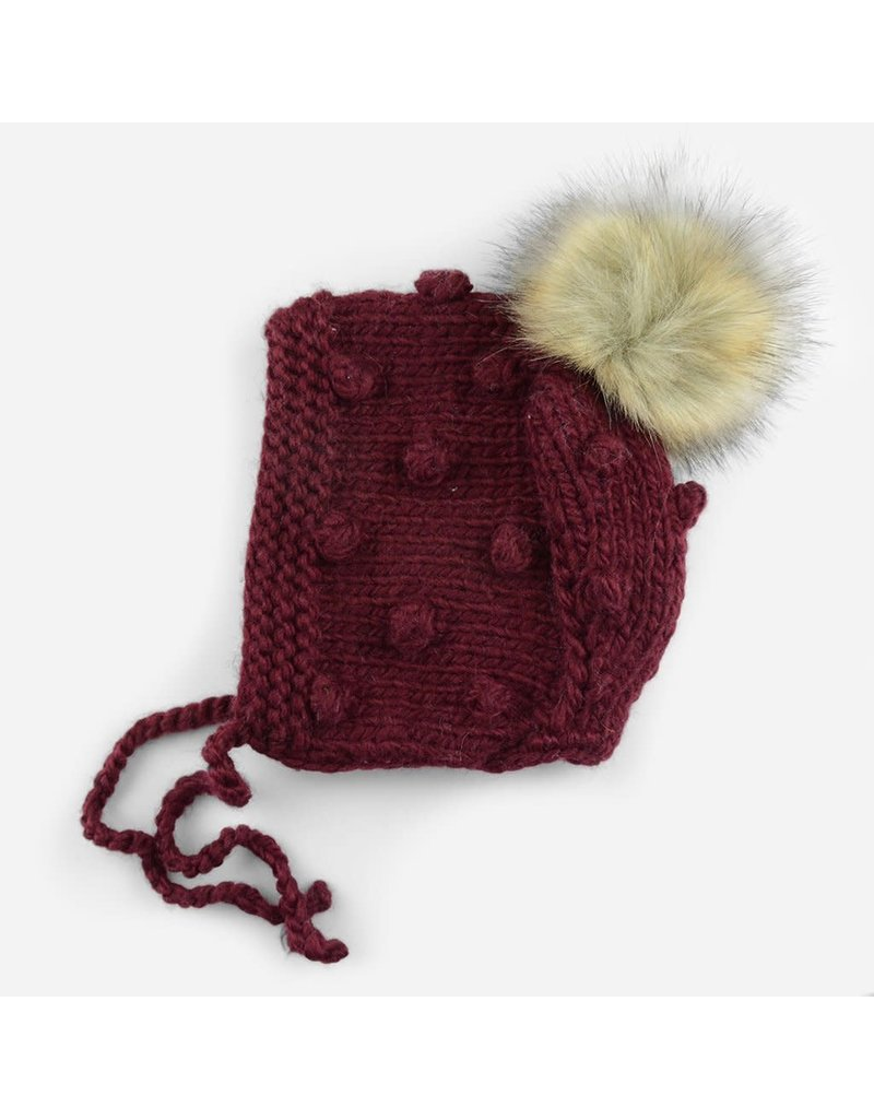 Blueberry Hill Coco Bonnet with Pom, Pomegranate NB 0-3m