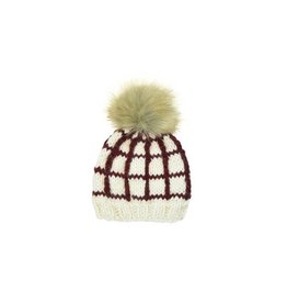 Blueberry Hill Windowpane Knit Beanie, Pomegranate 3-12m