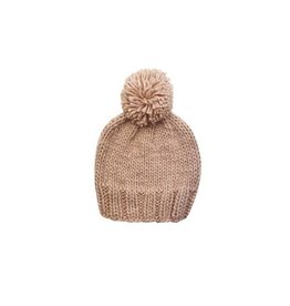 Blueberry Hill Hand Knit Pom Beanie, Pink NB 0-3m