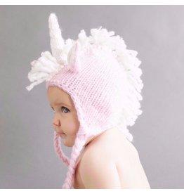 Blueberry Hill Ella Unicorn Knit Beanie, Pink/White 12-24m
