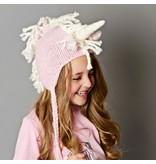 Blueberry Hill Ella Unicorn Knit Hat, Pink/White 12-24m