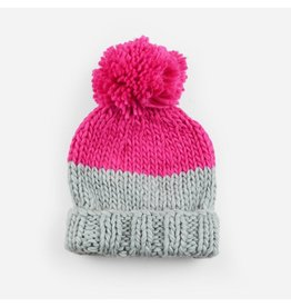 Blueberry Hill Millie Knit Beanie, Gray/Pink 2-5yrs