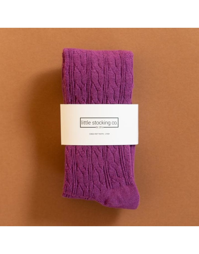 Little Stocking Co Willowherb Purple Cable Knit Tights