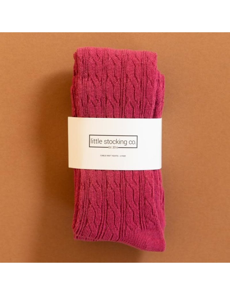 Little Stocking Co Raspberry Cable Knit Tights