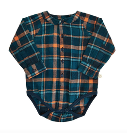 Flannel Bodysuit, Navy/Burnt Orange