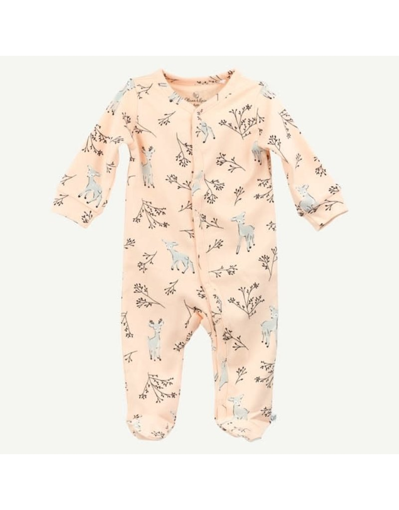 Oliver and Rain Cotton Sleep and Play, Light Pink Deer