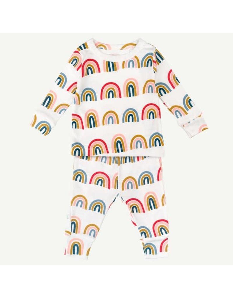 Oliver and Rain Two-piece Pajama Set, Rainbow