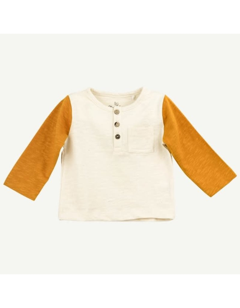 Oliver and Rain Gold and White LS Tee Toddler