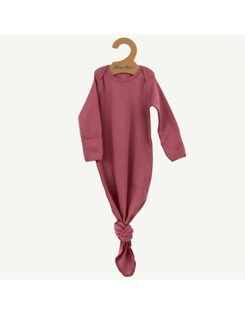 Oliver and Rain Cotton Baby Gown, Ash Rose OS