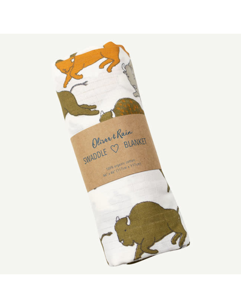 Oliver and Rain Print Swaddle, Buffalo