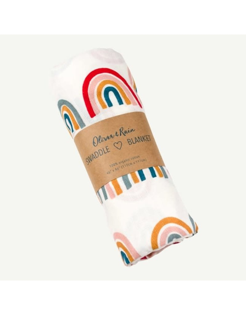 Oliver and Rain Print Swaddle, Rainbow