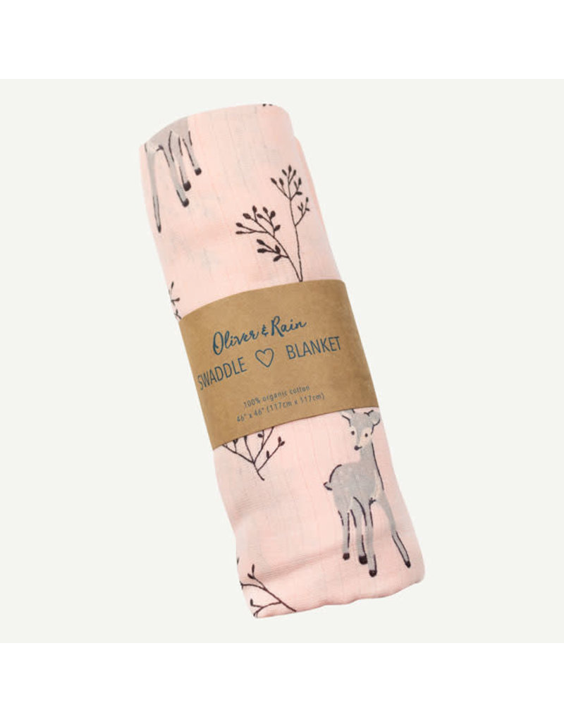 Oliver and Rain Print Swaddle, Light Pink Deer