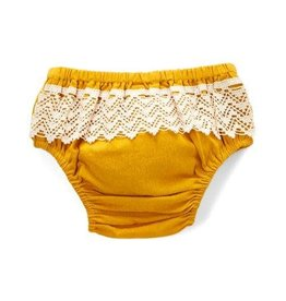 Yo Baby Diaper Cover with Lace, Mustard