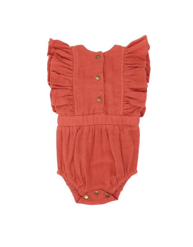 Organic Ruffle Bodysuit, Melon