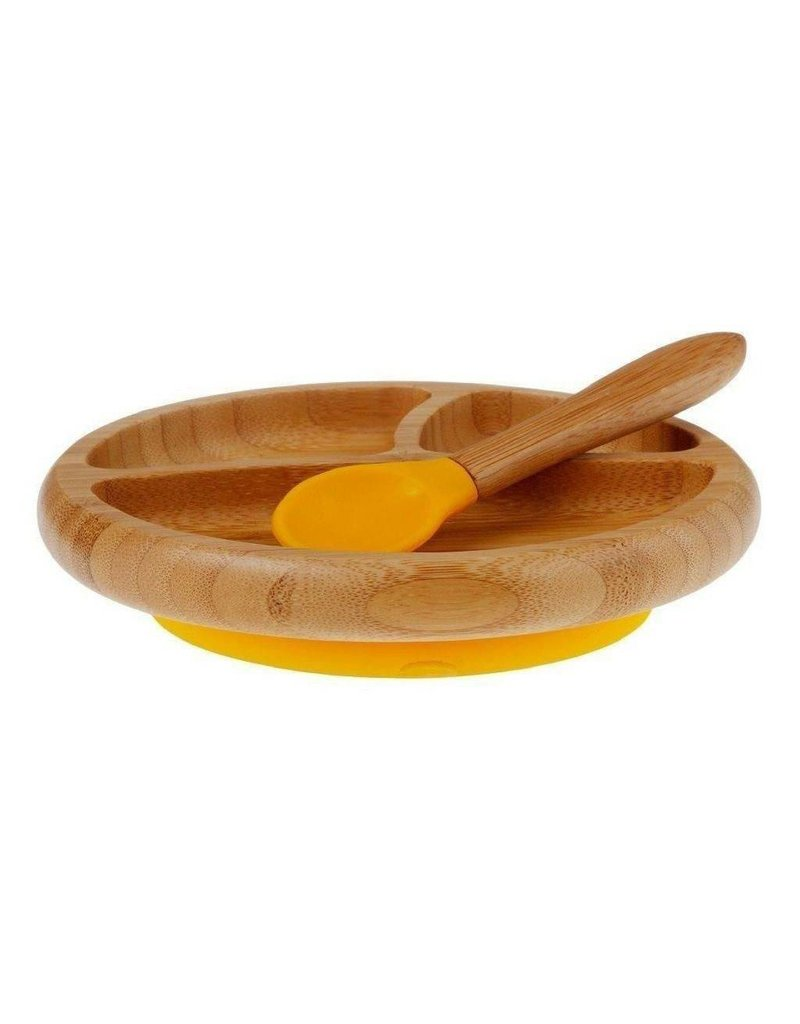 Bamboo Baby Plate + Spoon Yellow