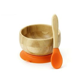 Bamboo Baby Bowl + Spoon Orange
